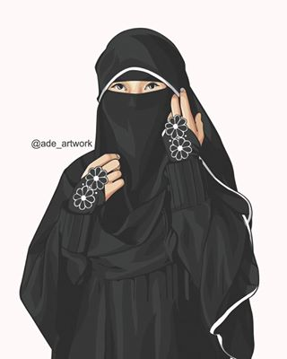 Gambar Kartun Muslimah Bercadar Bunga