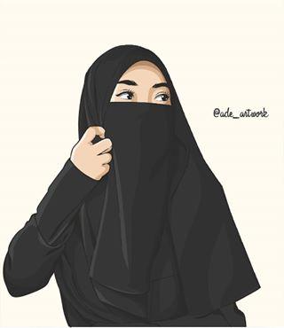Gambar Kartun Muslimah Bercadar Cantik