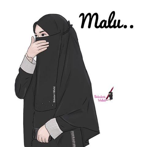 Gambar Kartun Muslimah Bercadar Melestarikan Malu