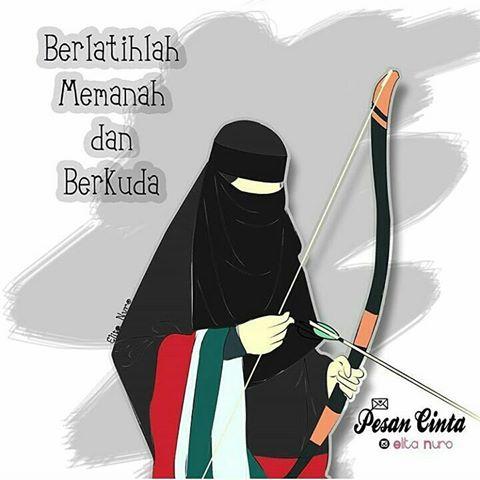 Gambar Kartun Muslimah Bercadar Memanah