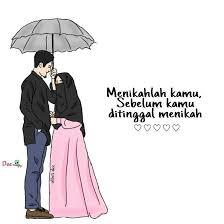 Gambar Kartun Muslimah Bercadar Menikah