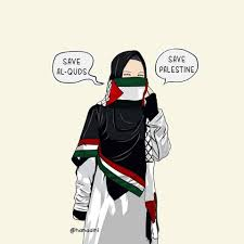 Gambar Kartun Muslimah Bercadar Save Palestina
