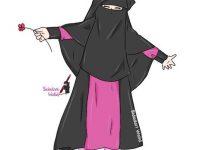 Gambar Kartun Muslimah Bercadar dan Anak Bercadar