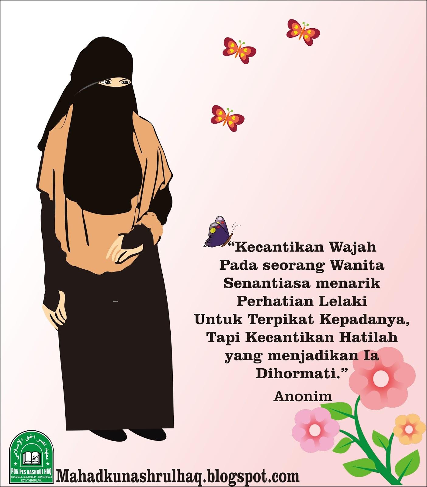 50 Gambar Kartun Muslimah Bercadar Cantik Berkacamata