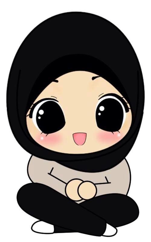 Gambar Kartun Muslimah Lucu Duduk