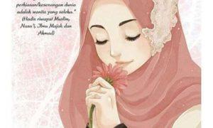 Gambar Kartun Muslimah Lucu Mencium Bunga
