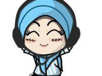 Gambar Kartun Muslimah Lucu dengar Musik (Murottal Asik)