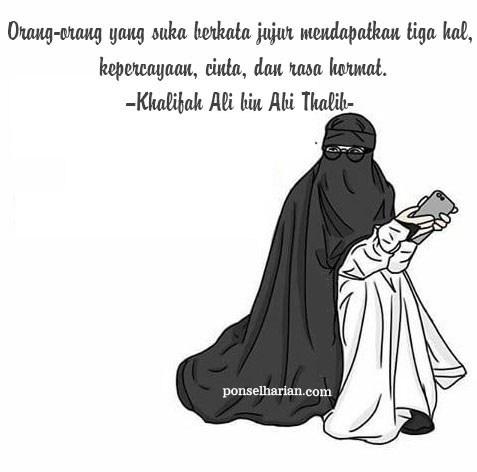 Gambar Kartun Muslimah Cinta dan Kejujuran