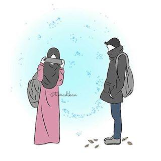 Gambar Kartun Muslimah Jatuh Cinta