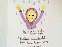 kartun muslimah hujan