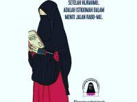 Gambar Kartun Muslimah Bercadar Baca Buku