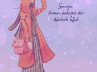 Gambar Kartun Muslimah Bercadar Bahagia
