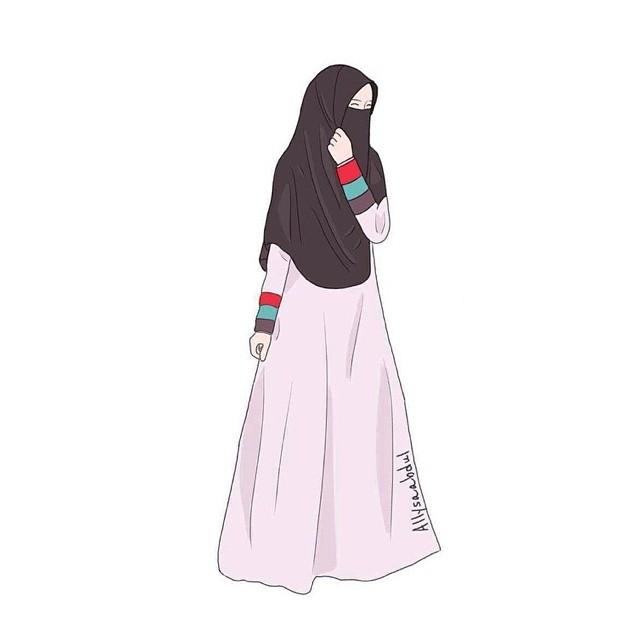 Gambar Kartun Muslimah Bercadar Berseri-seri