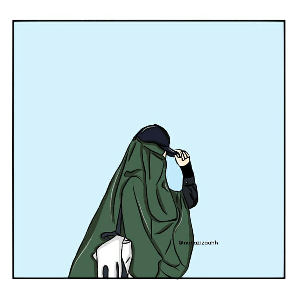 Gambar Kartun Muslimah Bercadar Bertopi
