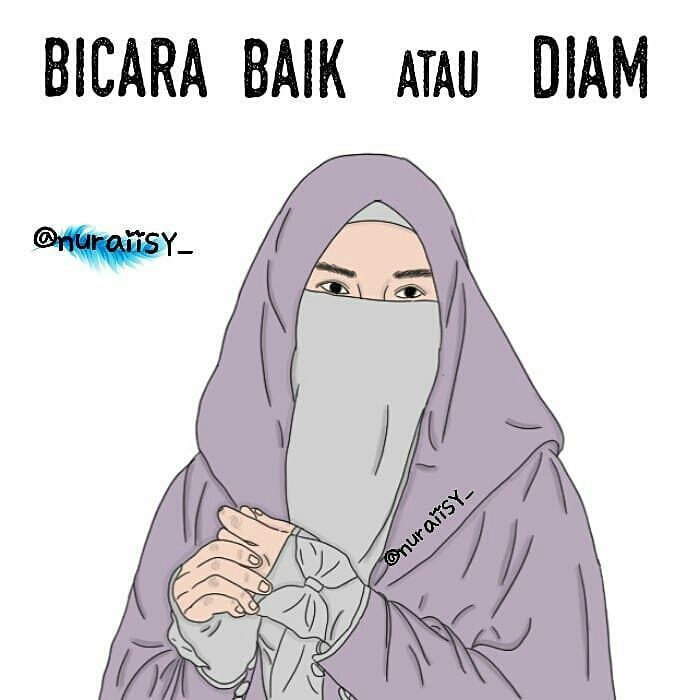 Gambar Kartun Muslimah Bercadar Bicara Baik atau Diam