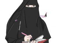 Gambar Kartun Muslimah Bercadar Seorang Penulis