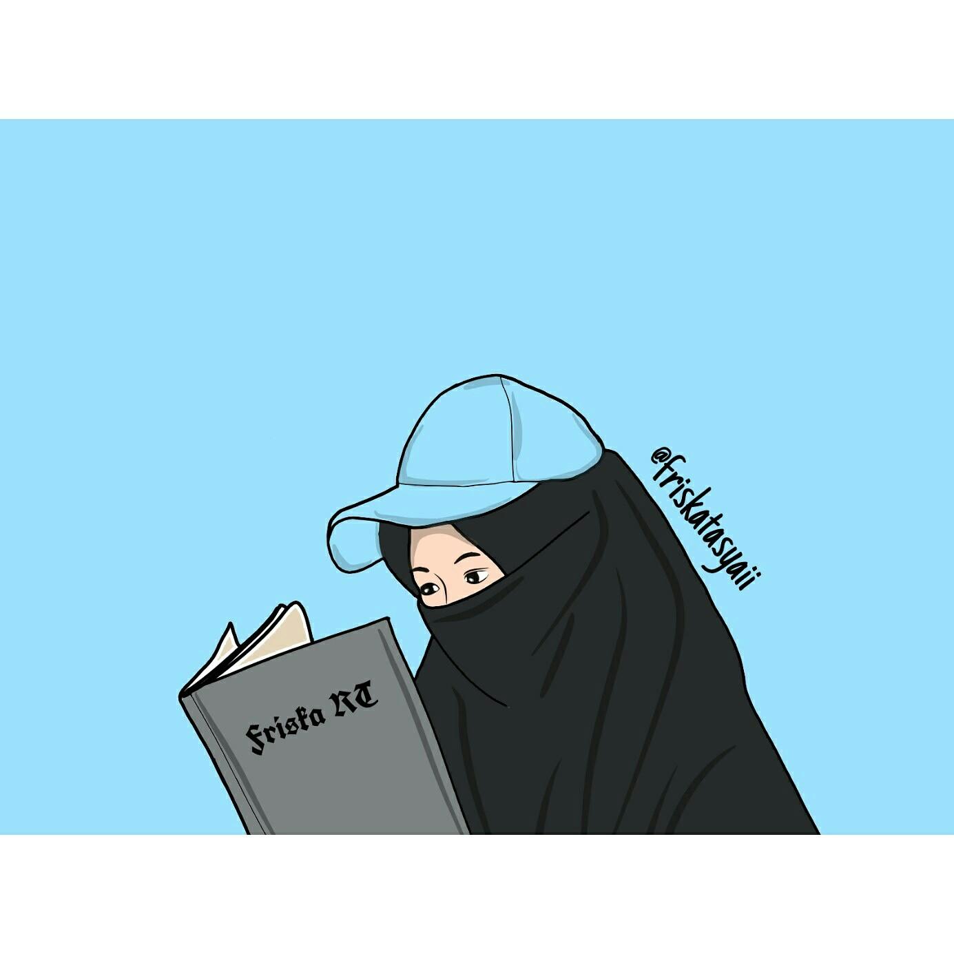 Gambar Kartun Muslimah Bercadar membaca Buku