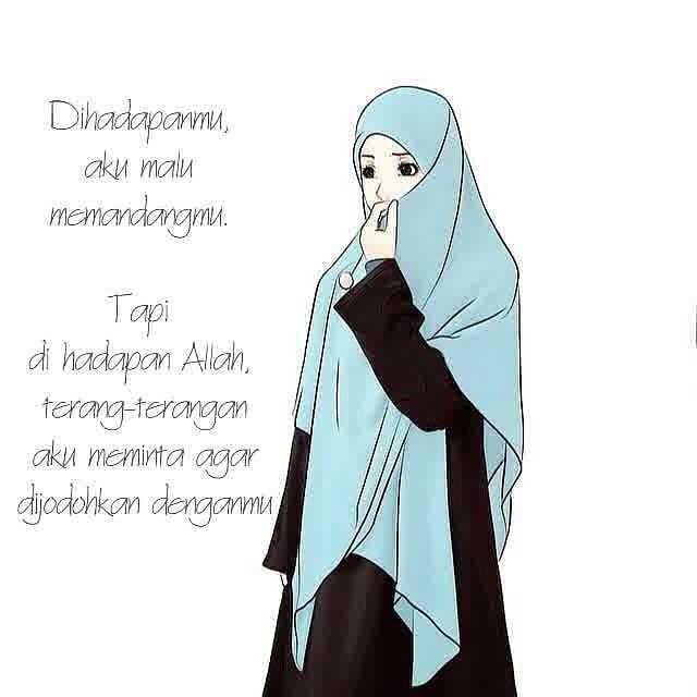 Kartun Muslimah Jatuh Cinta Dihadapanmu aku Malu Memandangmu