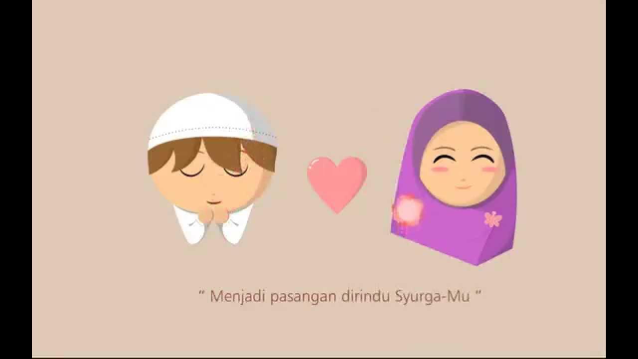 Gambar Kartun Muslimah Jatuh Cinta Pasangan yang Diridu Syurga
