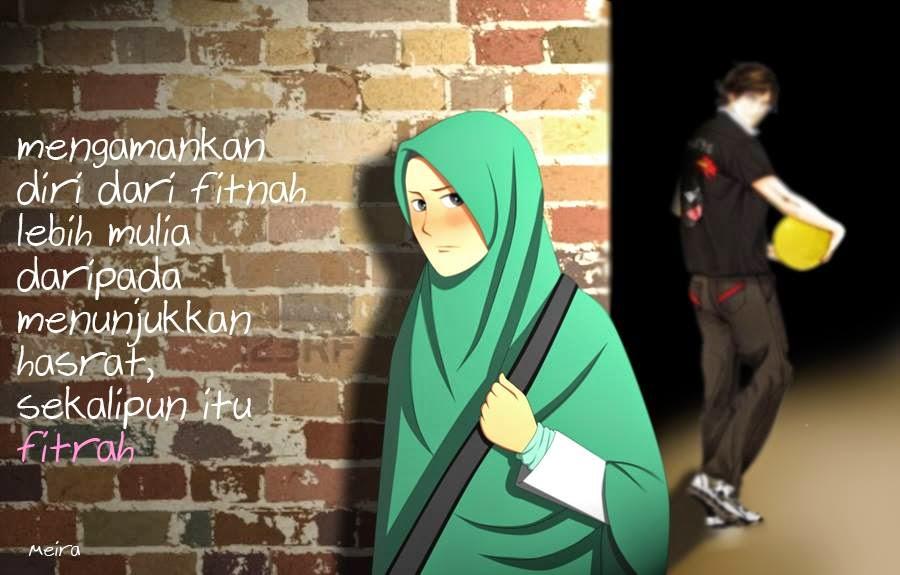 kartun muslimah jatuh cinta menghidarkan diri dari fitnah
