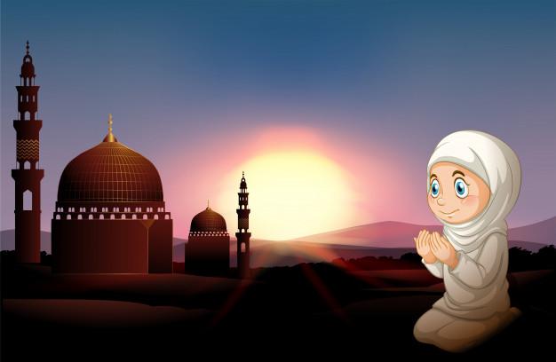 Gambar Kartun Muslimah Sholat Berdoa